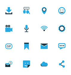 media colorful icons set collection of envelope vector image