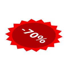 minus 70 percent sale red icon isometric style vector image