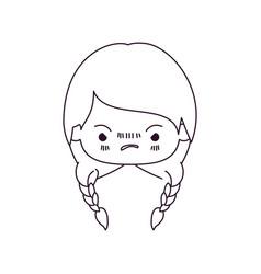 Monochrome silhouette of kawaii head little girl vector