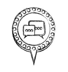 Monochrome sketch with dialogue in circular speech vector