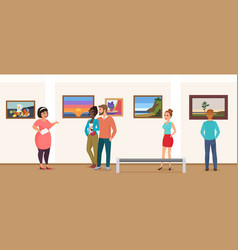 Museum visitors people in art exhibition gallery vector