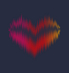 musical waves in the shape of a heart in the vector image