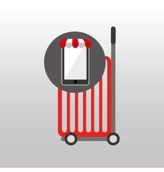 Online shopping red trolley design vector