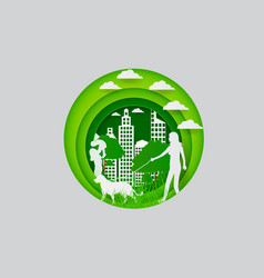 Paper carve to people and town on green paper art vector