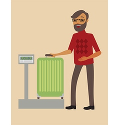 Passenger weighing his big suitcase vector image