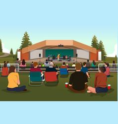 people in an outdoor concert vector image