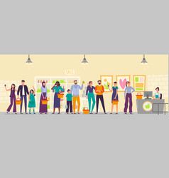 People waiting in store line long shop queue vector
