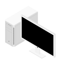 personal computer case and monitor isometric view vector image
