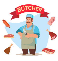 professional butcher classic butcher man vector image