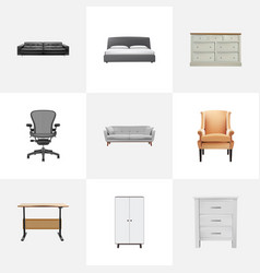 Realistic boss armchair mattress worktop and vector