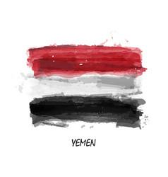 realistic watercolor painting flag of yemen vector image