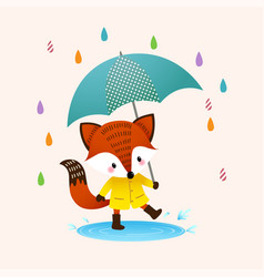 red fox in brown boots with umbrella vector image