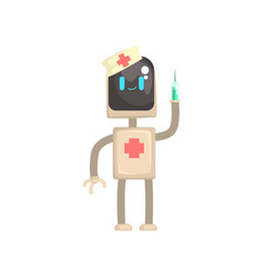 robot doctor character android with syringe in vector image