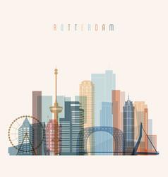 Rotterdam skyline detailed silhouette vector