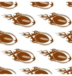 Rugby balls with fire flames pattern vector