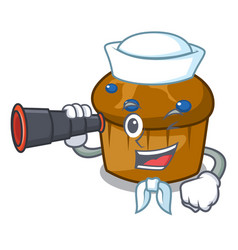 Sailor with binocular mufin blueberry mascot vector