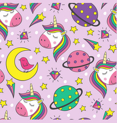 seamless pattern with little unicorns and planets vector image
