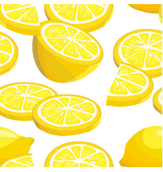 seamless pattern with sliced lemons vector image
