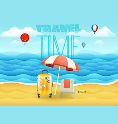 seaside with umbrella and bag and chair travel vector image
