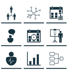 set 9 executive icons includes solution vector image