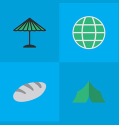 Set of simple holiday icons elements world camping vector