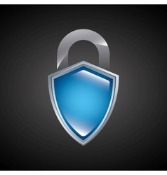 Shield and padlock icon Security system design vector