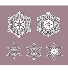 Snowflakes with 3D effect logo icons winter vector image