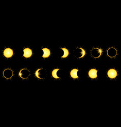 solar eclipse phases in dark sky vector image