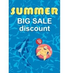 Summer big discount Shark around a fat man on vector image