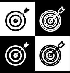 Target with dart black and white icons vector