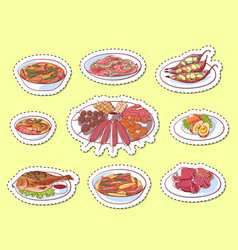 thai cuisine dishes isolated labels vector image