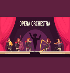 Theater orchestra performance flat vector