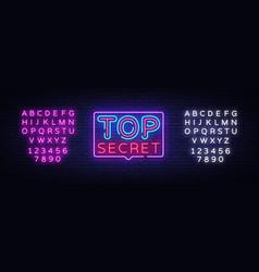 top secret neon text design template top vector image
