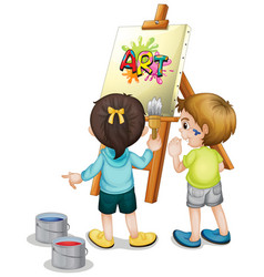 Two children painting on canvas on white vector