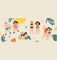 Two girls spend their summer vacation together vector