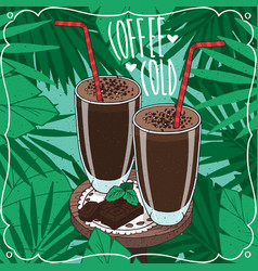 Two glasses with cold coffee or choco milkshake vector