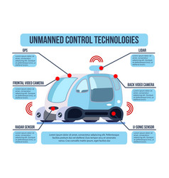 Unmanned vehicle control infographics vector