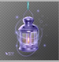 Vintage luminous lantern of purple color with vector