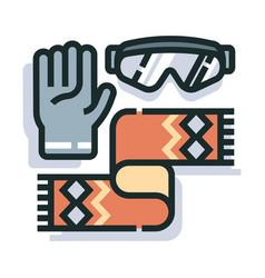 winter accessories line color icon vector image