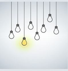 With hanging light bulbs one vector
