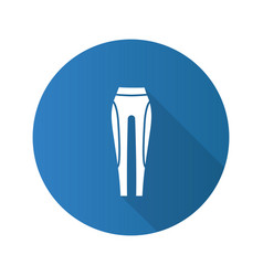 Womens sports pants flat design long shadow glyph vector