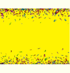 Yellow holiday background with colorful serpentine vector
