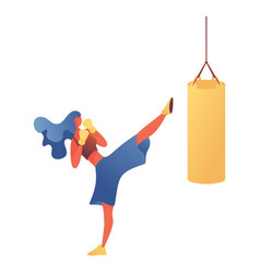 young woman kickboxing training in gym vector image
