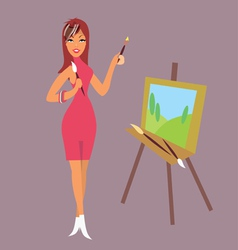 brunette girl artist draws a landscape vector image