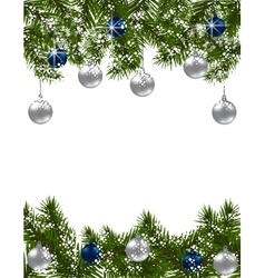 Christmas greeting card Green fir branches with vector image vector image