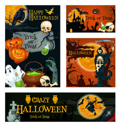 halloween holiday trick or treat night banner vector image