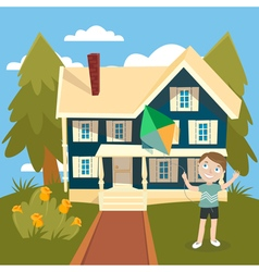 Happy Boy Launches a Kite near the House Summer vector image vector image