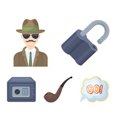 lock hacked safe smoking pipe private detective vector image