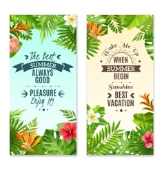 Tropical Plants 2 Colorful Vacation Banners vector image vector image