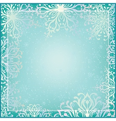 Winter background with ornamental snowflakes vector image vector image